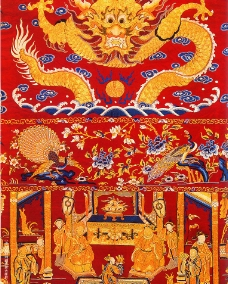 红锻刺绣祝寿大褂屏(局部)图片