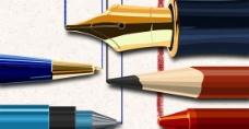 钢笔彩色铅笔蜡笔圆珠笔水笔PSD分层素材图片