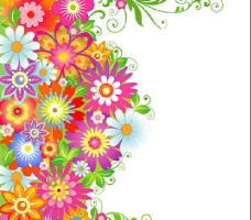 色彩缤纷的花卉花纹矢量素材图片