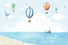{夏之爽}《背景素材.儿童模板.海边.气球.夏天素材》8图片