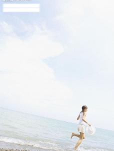 女性与海滩图片