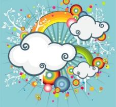 彩虹、云朵潮流插画图片