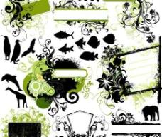 时尚花纹与动物剪影图片
