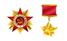 俄罗斯金色勋章矢量素材图片