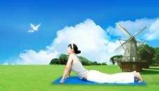 蓝天 白云 风车图片