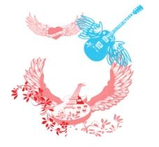 有翅膀的音乐吉他笔刷