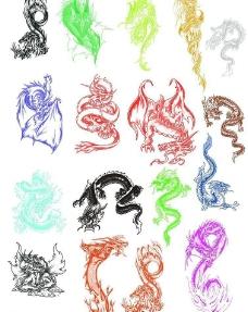 25款超酷绘画风格龙PS笔刷