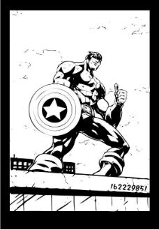 Captain America线稿图片